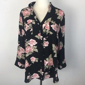 IZ Bayer Floral Button Down Long Sleeve Blouse